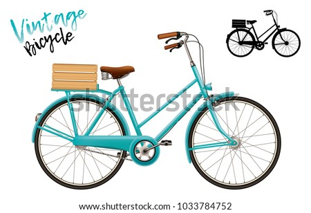 City bicycle. Vintage style with wooden crate. Set includes lettering and silhouette shape. Vector design isolated for all backgrounds.