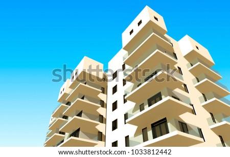 housing architecture 3d illustration #1033812442