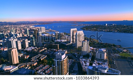 Interesting aerial view of downtown San Diego and the Coronado Bridge over the bay.