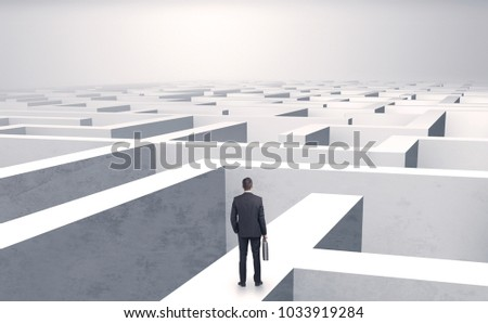 Small businessman in a middle of a huge maze #1033919284