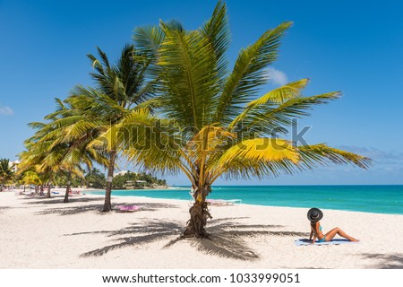 Caribbean tropical beach destination in Barbados, cruise activity. Woman sunbathing relaxing tanning under palm tree on sand on Dover beach, famous resort tourist attraction. #1033999051