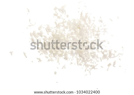 Heap of coconut flakes isolated on white background #1034022400