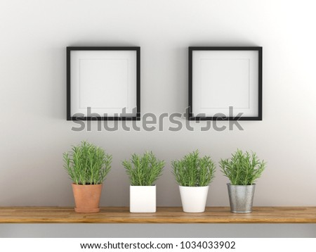 Two blank picture frame template for place image or text inside with a little tree on wood table.