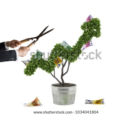 Businessman that cuts and adjusts money tree shaped like an arrow stats. Concept of startup company . 3D Rendering #1034041804