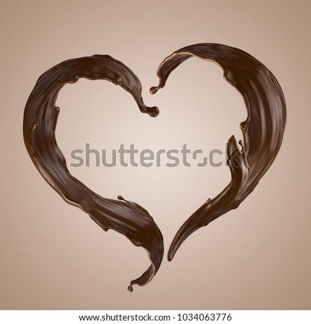3d render, chocolate heart splash, wavy jets, liquid clip art collection, isolated design elements