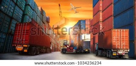 Industrial Container Cargo freight ship for Logistic Import Export concept #1034236234