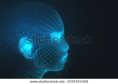 Abstract polygonal head in space. Cyberspace and science concept. Double exposure