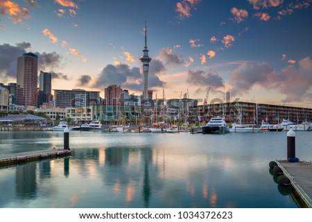 Auckland. Cityscape image of Auckland skyline, New Zealand during sunrise. #1034372623