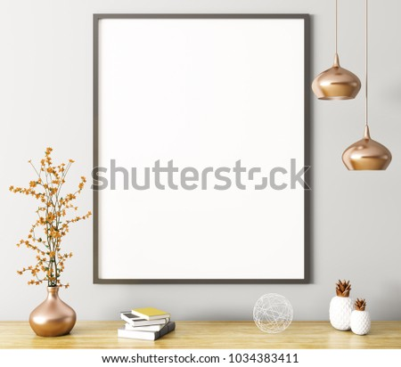 Wall decoration, poster and vase on the shelf, interior background 3d rendering #1034383411