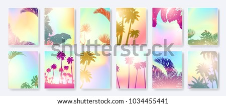 Colorful Summer banners, tropical backgrounds set with palms, leaves, sea, clouds, sky, beach colors. Beautiful Summer Time cards, posters, flyers, party invitations. Summertime template collection. Royalty-Free Stock Photo #1034455441