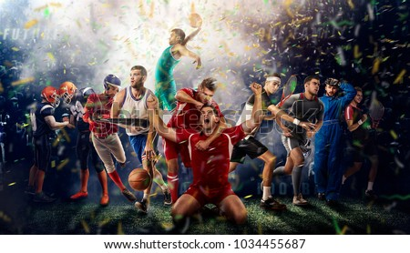 successful football, soccer, basketball, baseball, tennis players, cars, boxing fighters on professional 3D basketball court arena in lights with confetti, serpantine and smoke. collage, multi ,sport #1034455687