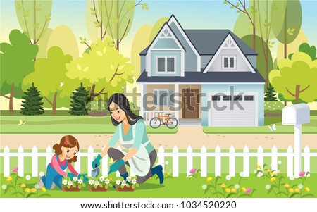 Woman and girl, mother and daughter, gardening together planting flowers in the garden. Concept motherhood child-rearing. Vector illustration