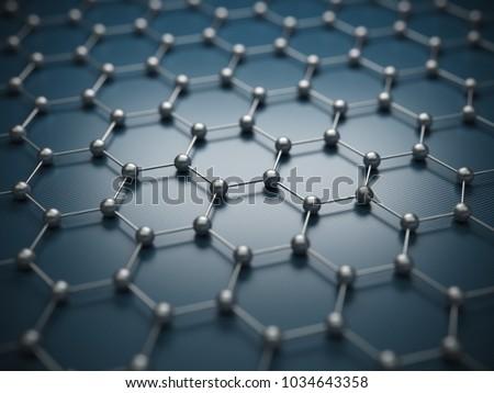 Graphene molecular grid, graphene atomic structure concept, hexagonal geometric form, nanotechnology background 3d rendering #1034643358