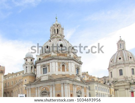 Rome, Italy - May 1, 2017:Beautiful panoramic view of Piazza Venezia and amazing ancient roman buildings,Rome,Italy #1034693956