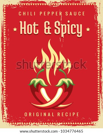 Chili pepper poster. Vintage traditional mexican spicy poster, hot chili pepper food restaurant graphics Royalty-Free Stock Photo #1034776465