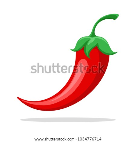 Spicy pepper. Savoury extra tabasco or cayenne red pepper closeup vector illustration #1034776714