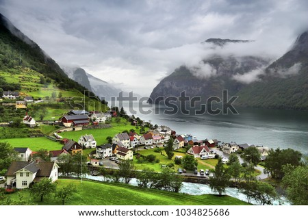 Norway fiord landscape - Aurlandsfjord, part of Sognefjord. Town of Undredal. #1034825686