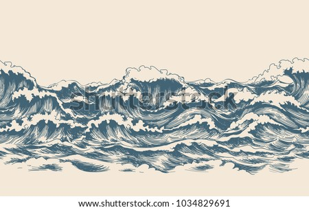 Sea waves sketch pattern. Ocean surf wave hand drawn horizontal seamless pattern vector illustration