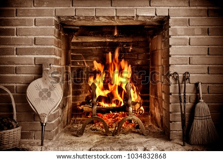 old country house fireplace #1034832868