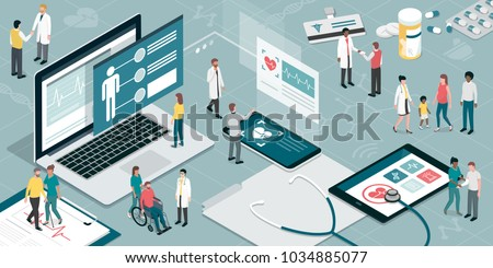 Healthcare and innovative technology: apps for medical exams and online consultation concept Royalty-Free Stock Photo #1034885077