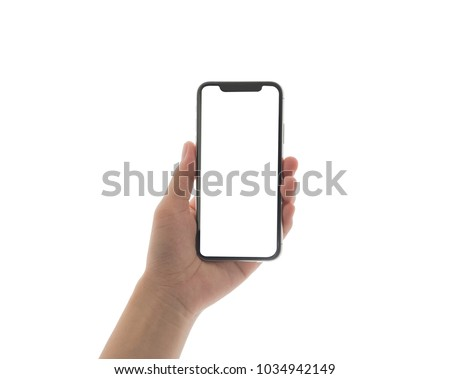 close up hand hold phone isolated on white, mock-up smartphone white color blank screen #1034942149