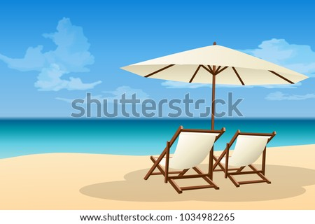 Sea beach scenery and chair graphic vector #1034982265