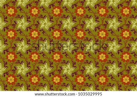 Raster colorful seamless print design in orange, red and brown colors. #1035029995