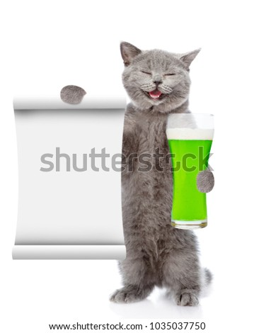 St Patrick's Day concept. Happy cat with a glass of green beer and with empty list. isolated on white background #1035037750