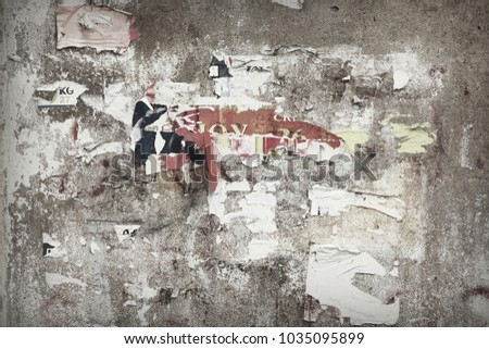 Vintage Billboard With Torn Poster, Paper, Ads, Stickers. Grungy Dingy Backdrop Or Faded Texture. Abstract Grunge Horizontal Background. Urban Creative Creased Grungy Wallpaper Or Design Element. #1035095899