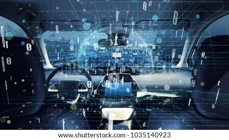 Interior of autonomous car. Car digitalization concept. #1035140923