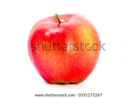 Red apple closeup isolated on white background. Juicy fruit. Healthy food. Vitamins. #1035172267