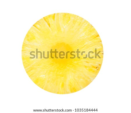 Fresh slice pineapple round isolated #1035184444