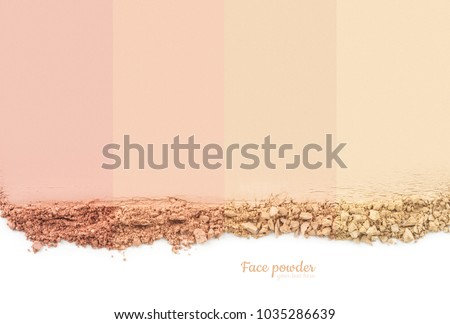 Face powder. Smears of foundation for face. Cosmetic smear. Isolated on white background #1035286639