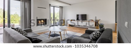 Panoramic view of luxurious living room with fireplace, tv and two couches #1035346708