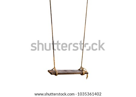 The old rope wooden swing. Isolated background #1035361402