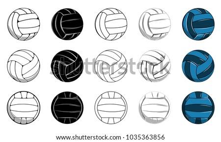 Set volleyball ball icon, contour ball, colored ball vector illustration