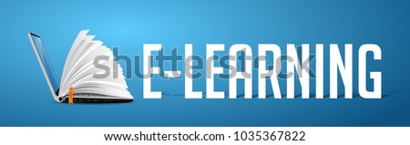 Elearning concept - laptop as book on blue banner with word E-LEARNING Royalty-Free Stock Photo #1035367822