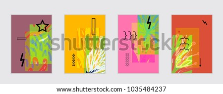 Set of artistic abstract universal card templates with simple geometric shapes and hand drawn doodle texture. Social media web banner. Bright colored isolated on white background cover template. #1035484237