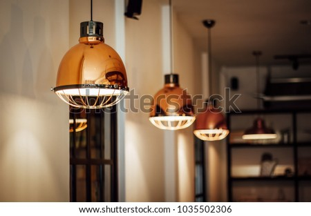 Warm and Vintage Interior Light, Coffee Shop #1035502306