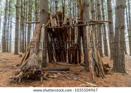 wooden shelter camping tent structure outdoors woods park wood tree trunk bark building cabin man made structure industrial hand crafts #1035504967