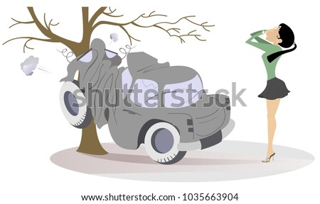 Young woman have got into a road accident illustration. Frustration and crying woman putting hands on the face stands near the car which crashed into the tree isolated on white illustration vector