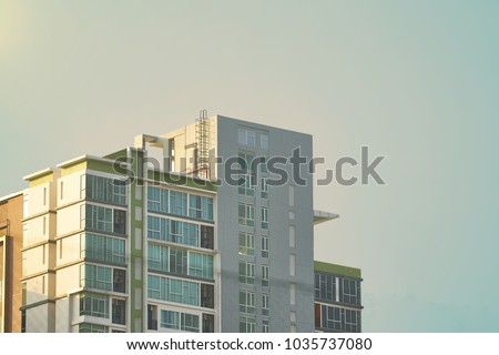 top of condo or tower on sky background ,bottom up view #1035737080