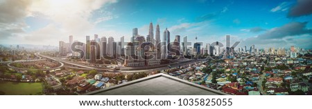 Open space balcony with Kuala Lumpur cityscape skyline view  . #1035825055