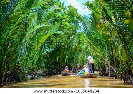 Paddle boats Mekong Delta Vietnam