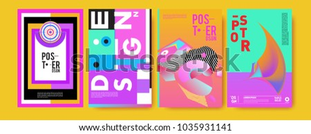 Abstract colorful collage poster design template. Cool geometric and fluid cover design. Blue, yellow, red, orange, pink and green. Vector banner poster template in Eps10. #1035931141