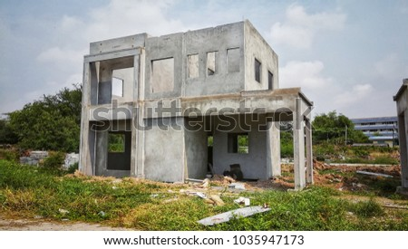 Construction building  site for make new home at village. Work in process  #1035947173
