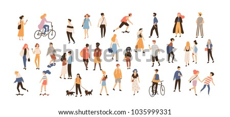 Crowd of people performing summer outdoor activities - walking dogs, riding bicycle, skateboarding. Group of male and female flat cartoon characters isolated on white background. Vector illustration. Royalty-Free Stock Photo #1035999331