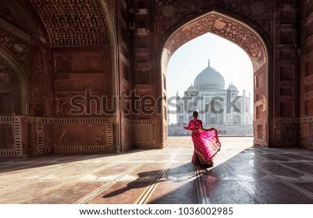 Woman in red saree/sari in the Taj Mahal, Agra, Uttar Pradesh, India Royalty-Free Stock Photo #1036002985