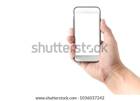 business hand man hold mobile phone with white screen isolated on white background, clipping path #1036037242