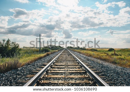 landscape with railroad railway leading lines #1036108690